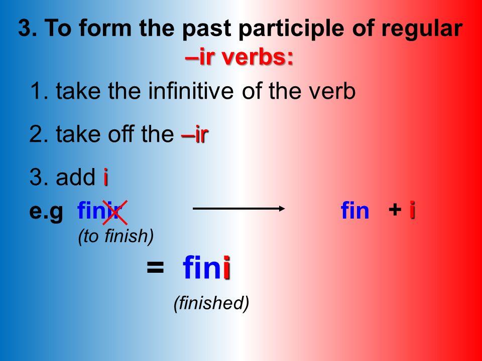Exercise A: -er verbs Put the verbs below into the perfect tense: 1. Je (manger) 2. Nous (regarder) 3. Ils (écouter) 4. Elle (voyager) 5. Vous (donner
