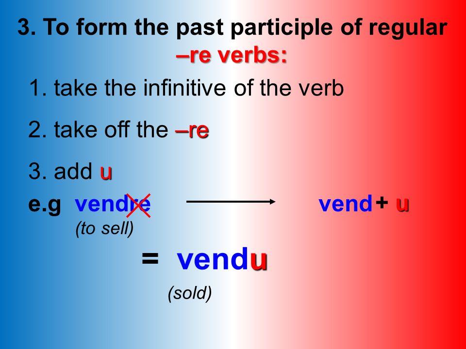 Exercise A: -ir verbs Put the verbs below into the perfect tense: 1. Il (finir) 2. Nous (rougir) 3. Tu (punir) 4. Je (réussir) 5. Elle (applaudir) 6.