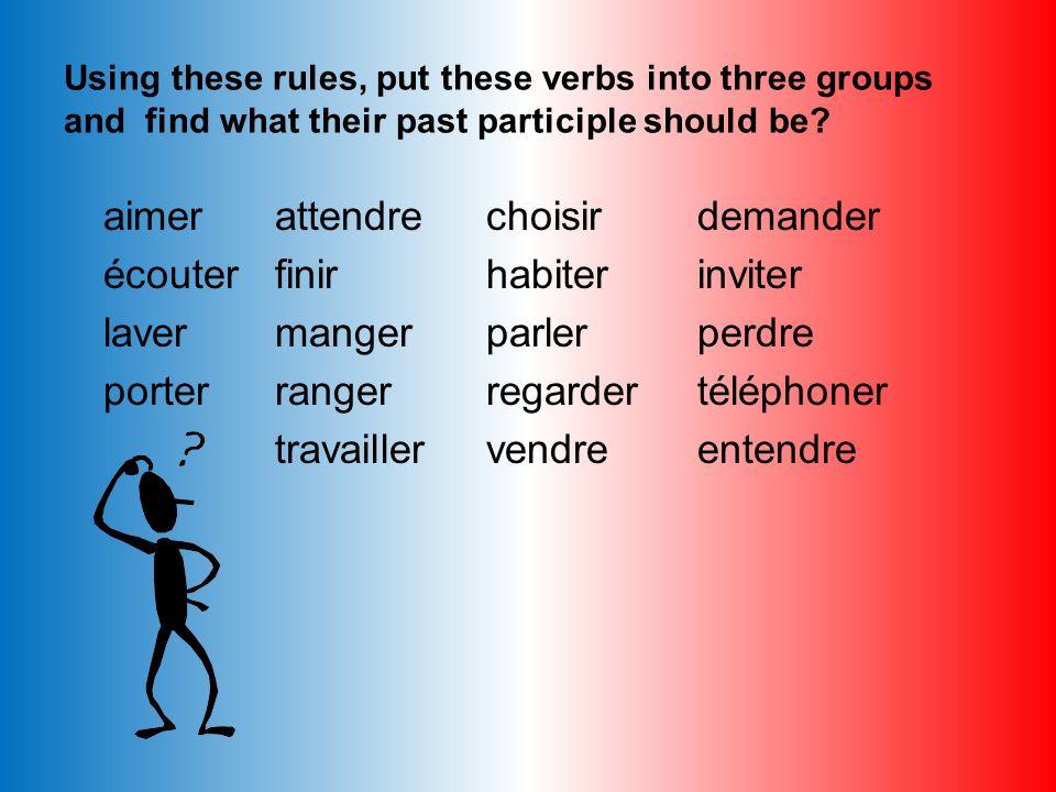Work out the past participles of the following verbs: 1)manger 2)descendre 3)partir 4)jouer 5)voyager 6)sortir 7)répondre 8)vendre 9)choisir 10)travai