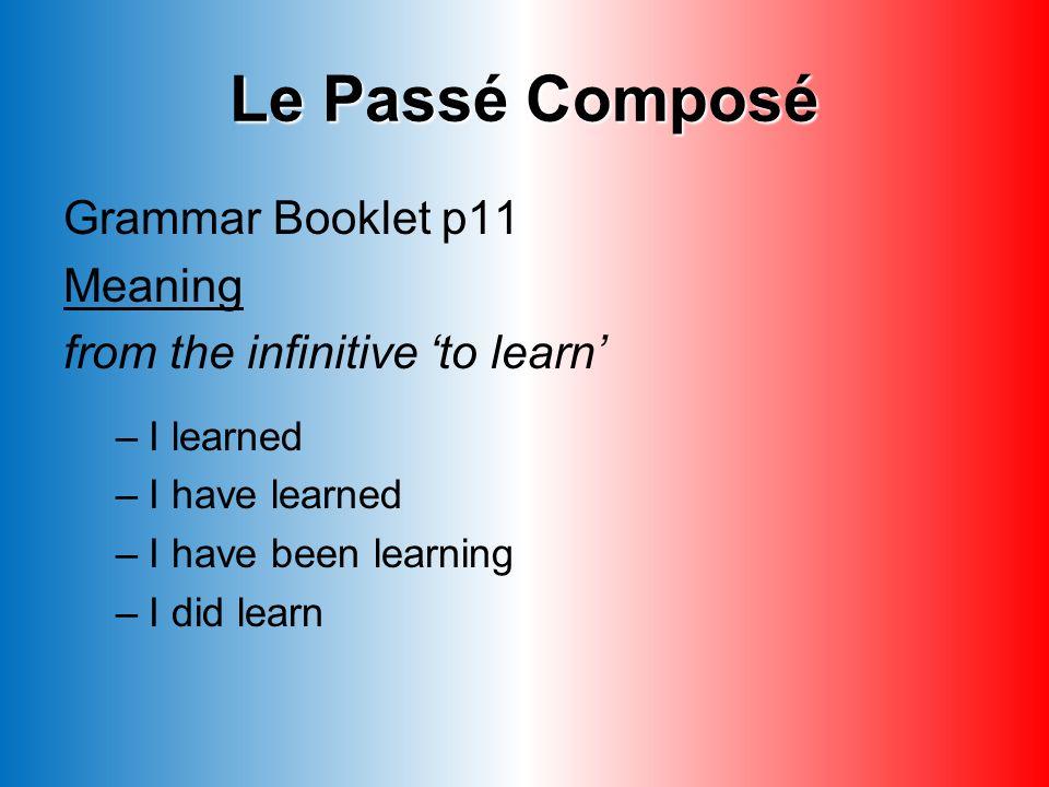 Le Passé Composé 2.Auxiliary verb (avoir) 1. Person2.