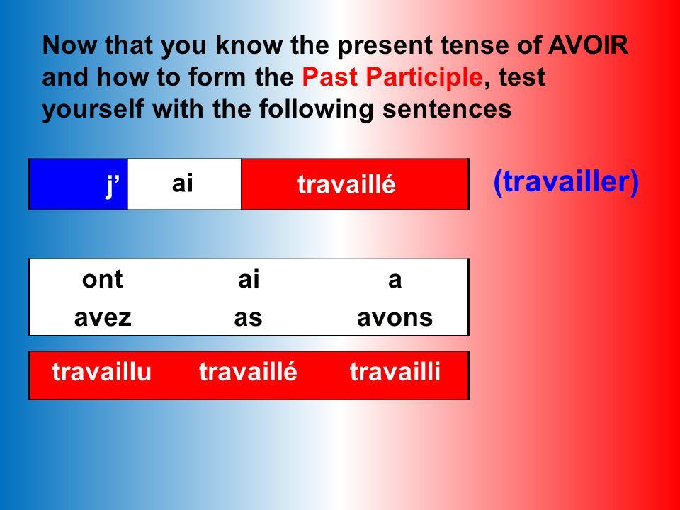 Check your answers aimé(liked)choisi (chosen) attendu (waited) demandé (asked)fini (finished) perdu (lost) écouté (listened) vendu (sold) habité (live
