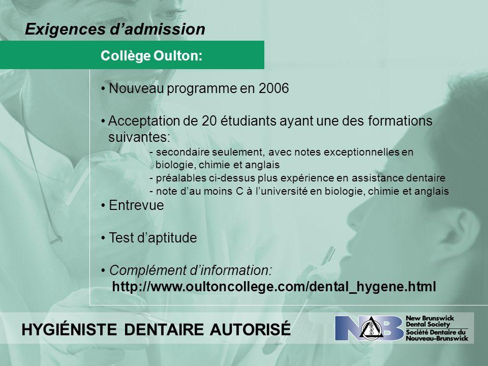 Exigences dadmission Collège Oulton: Nouveau programme en 2006 Acceptation de 20 étudiants ayant une des formations suivantes: - secondaire seulement,