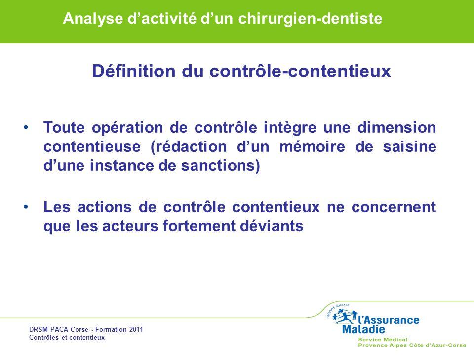 DRSM PACA Corse - Formation 2011 Contrôles et contentieux Analyse dactivité dun chirurgien-dentiste Définition du contrôle-contentieux Toute opération