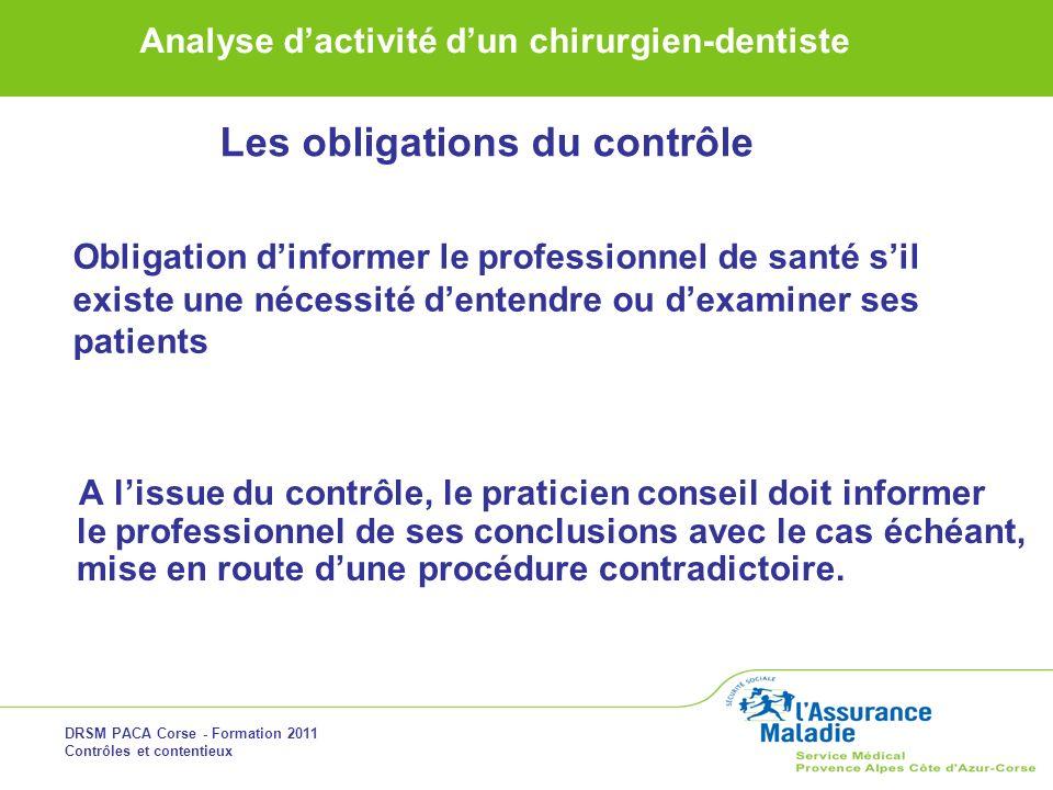 DRSM PACA Corse - Formation 2011 Contrôles et contentieux Analyse dactivité dun chirurgien-dentiste A lissue du contrôle, le praticien conseil doit in