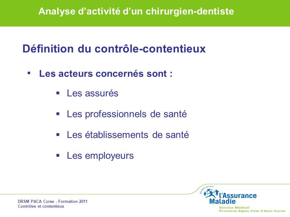 DRSM PACA Corse - Formation 2011 Contrôles et contentieux Analyse dactivité dun chirurgien-dentiste Définition du contrôle-contentieux Les acteurs con