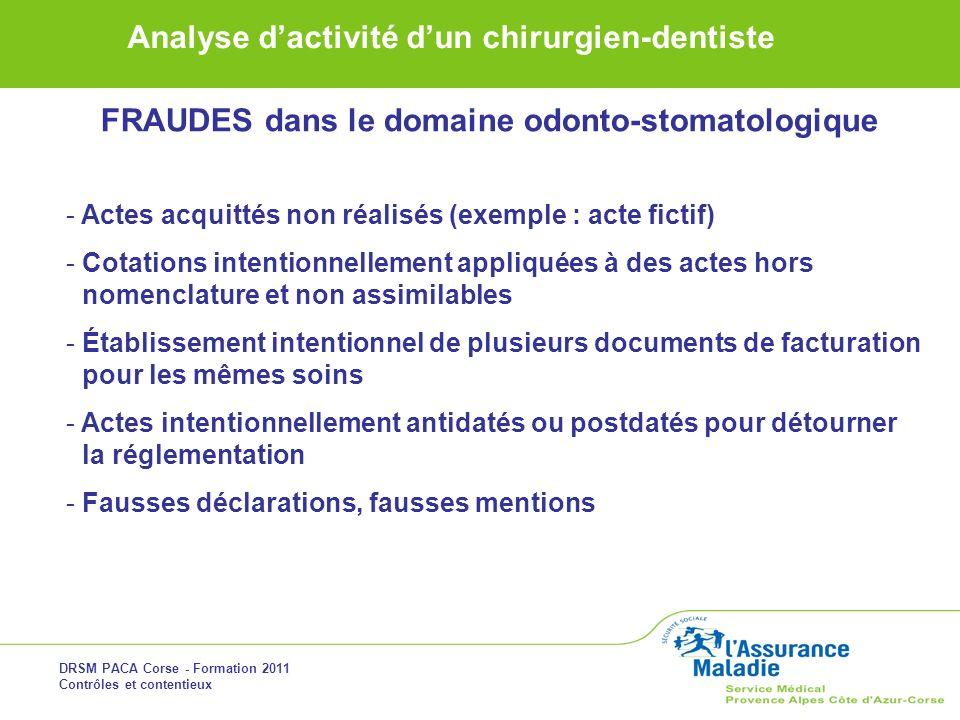 DRSM PACA Corse - Formation 2011 Contrôles et contentieux Analyse dactivité dun chirurgien-dentiste FRAUDES dans le domaine odonto-stomatologique - Ac
