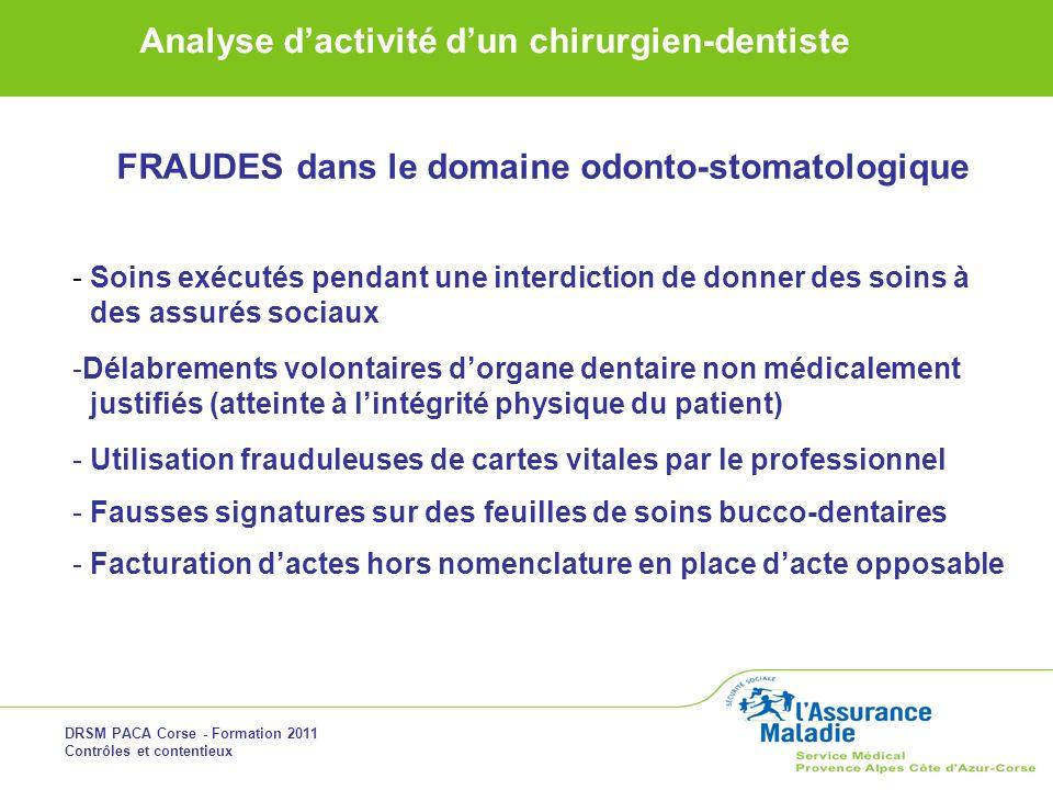 DRSM PACA Corse - Formation 2011 Contrôles et contentieux Analyse dactivité dun chirurgien-dentiste FRAUDES dans le domaine odonto-stomatologique - So