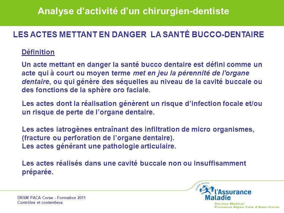DRSM PACA Corse - Formation 2011 Contrôles et contentieux Analyse dactivité dun chirurgien-dentiste LES ACTES METTANT EN DANGER LA SANTÉ BUCCO-DENTAIR