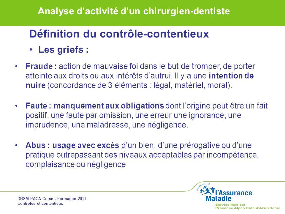 DRSM PACA Corse - Formation 2011 Contrôles et contentieux Analyse dactivité dun chirurgien-dentiste Définition du contrôle-contentieux Les griefs : Fr