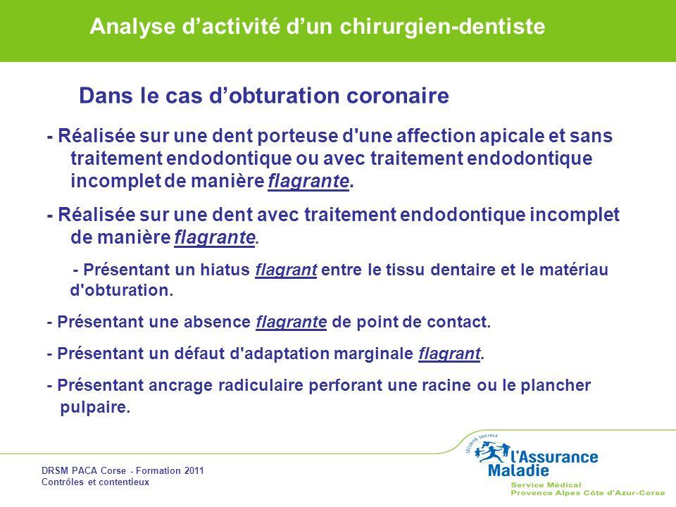 DRSM PACA Corse - Formation 2011 Contrôles et contentieux Analyse dactivité dun chirurgien-dentiste Dans le cas dobturation coronaire - Réalisée sur u