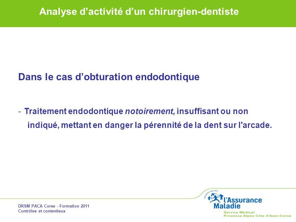 DRSM PACA Corse - Formation 2011 Contrôles et contentieux Analyse dactivité dun chirurgien-dentiste Dans le cas dobturation endodontique -Traitement e