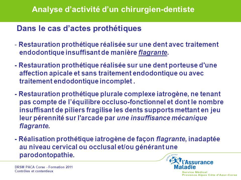 DRSM PACA Corse - Formation 2011 Contrôles et contentieux Analyse dactivité dun chirurgien-dentiste Dans le cas dactes prothétiques - Restauration pro