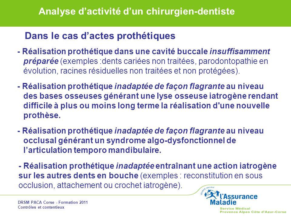 DRSM PACA Corse - Formation 2011 Contrôles et contentieux Analyse dactivité dun chirurgien-dentiste - Réalisation prothétique dans une cavité buccale