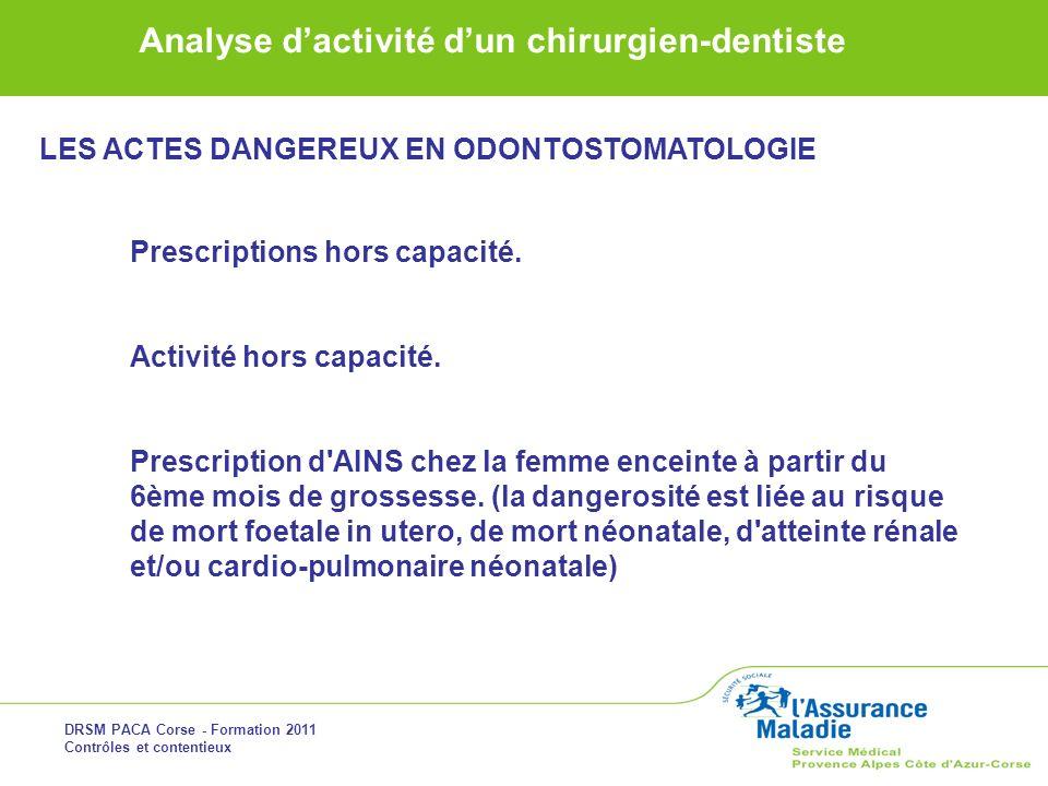 DRSM PACA Corse - Formation 2011 Contrôles et contentieux Analyse dactivité dun chirurgien-dentiste Prescriptions hors capacité. Activité hors capacit