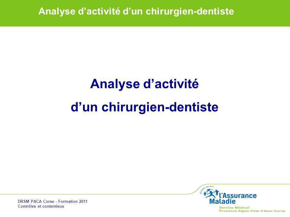 DRSM PACA Corse - Formation 2011 Contrôles et contentieux Analyse dactivité dun chirurgien-dentiste Analyse dactivité dun chirurgien-dentiste