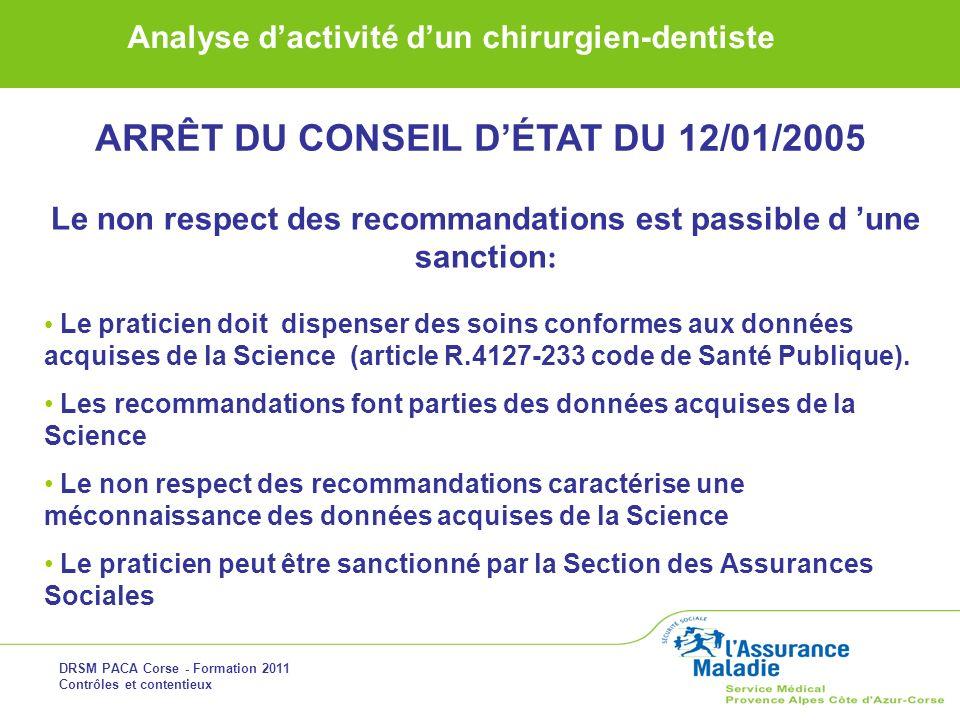DRSM PACA Corse - Formation 2011 Contrôles et contentieux Analyse dactivité dun chirurgien-dentiste Le non respect des recommandations est passible d