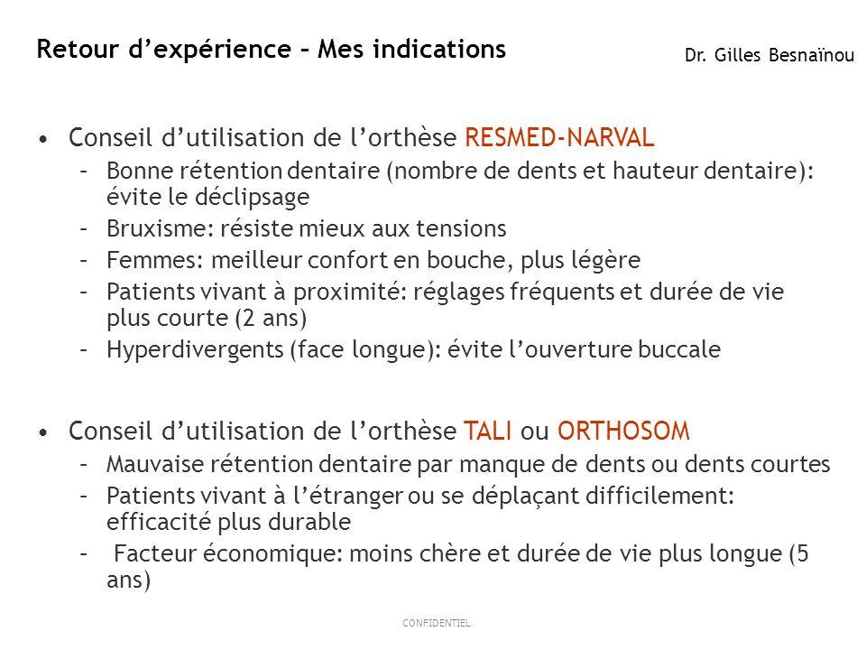 14ResMed 2012 March OB/MKT CONFIDENTIEL Retour dexpérience – Mes indications Dr. Gilles Besnaïnou Conseil dutilisation de lorthèse RESMED-NARVAL –Bonn