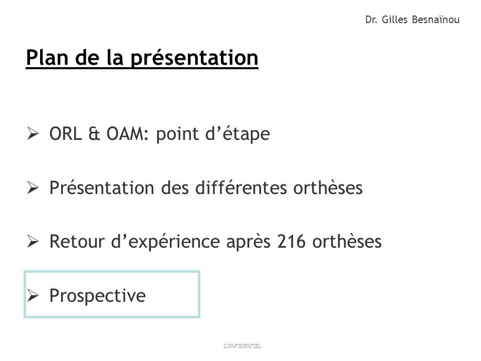 15ResMed 2012 March OB/MKT CONFIDENTIEL Plan de la présentation ORL & OAM: point détape Présentation des différentes orthèses Retour dexpérience après