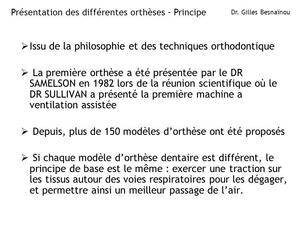 Issu de la philosophie et des techniques orthodontique La première orthèse a été présentée par le DR SAMELSON en 1982 lors de la réunion scientifique