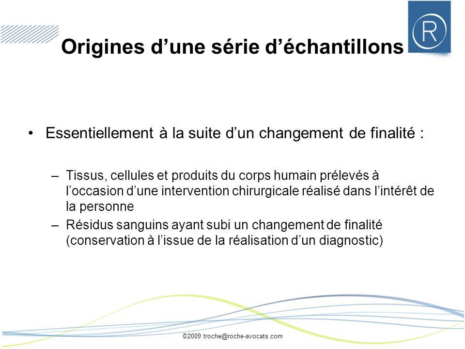 ©2009 troche@roche-avocats.com Origines dune série déchantillons Essentiellement à la suite dun changement de finalité : –Tissus, cellules et produits