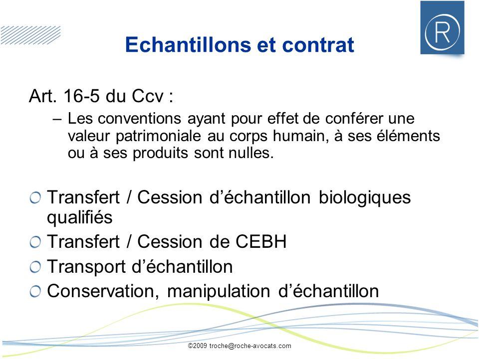 ©2009 troche@roche-avocats.com Echantillons et contrat Art. 16-5 du Ccv : –Les conventions ayant pour effet de conférer une valeur patrimoniale au cor