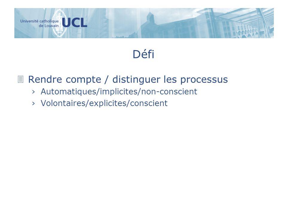 Défi 3Rendre compte / distinguer les processus Automatiques/implicites/non-conscient Volontaires/explicites/conscient