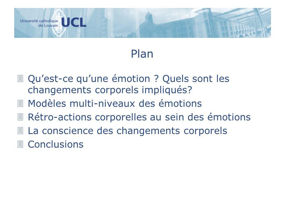 Plan 3Quest-ce quune émotion ? Quels sont les changements corporels impliqués? 3Modèles multi-niveaux des émotions 3Rétro-actions corporelles au sein