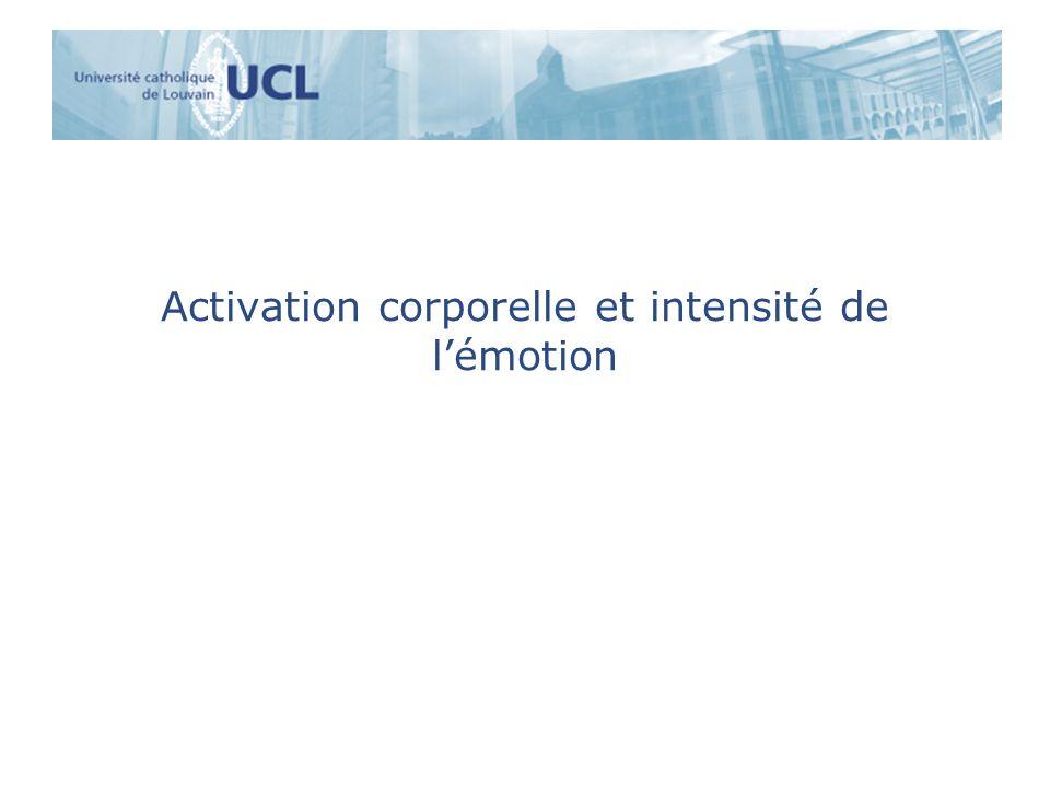 Activation corporelle et intensité de lémotion