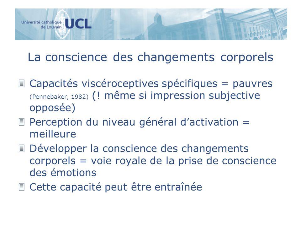 La conscience des changements corporels 3Capacités viscéroceptives spécifiques = pauvres (Pennebaker, 1982) (! même si impression subjective opposée)