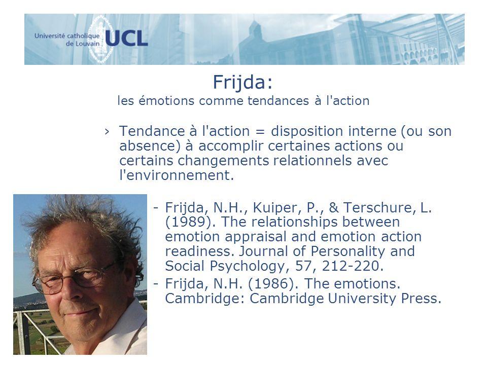 Frijda: les émotions comme tendances à l'action Tendance à l'action = disposition interne (ou son absence) à accomplir certaines actions ou certains c