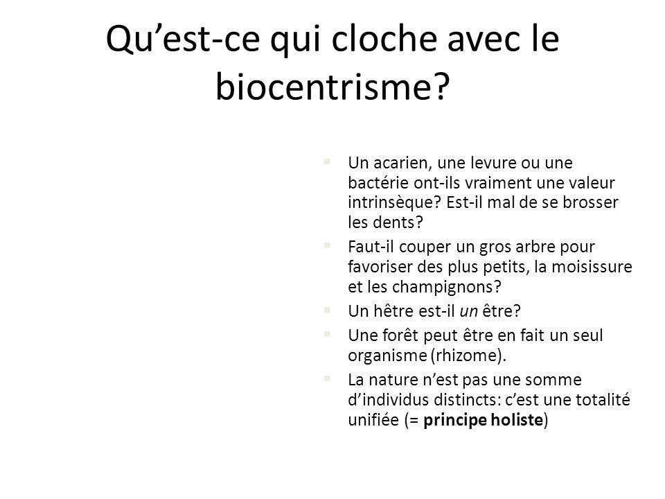 Quest-ce qui cloche avec le biocentrisme? Un acarien, une levure ou une bactérie ont-ils vraiment une valeur intrinsèque? Est-il mal de se brosser les