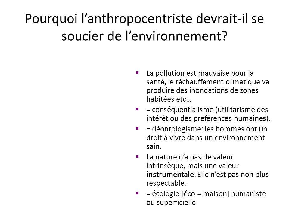 Pourquoi lanthropocentriste devrait-il se soucier de lenvironnement? La pollution est mauvaise pour la santé, le réchauffement climatique va produire