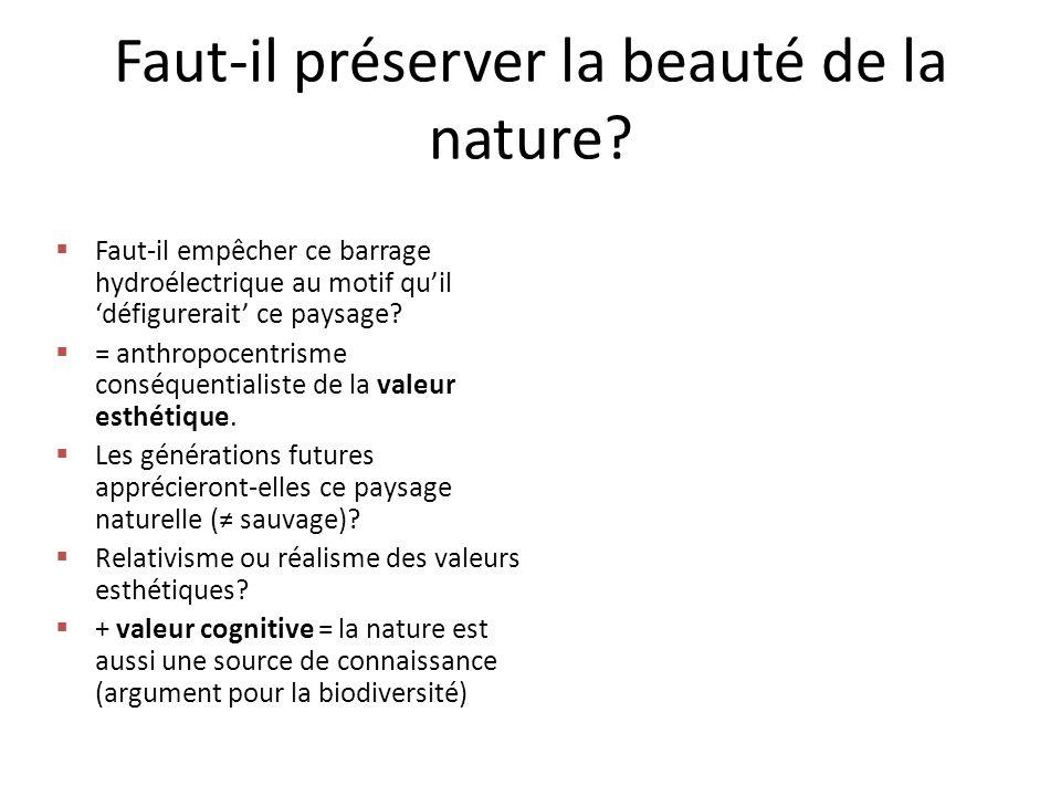 Faut-il préserver la beauté de la nature.