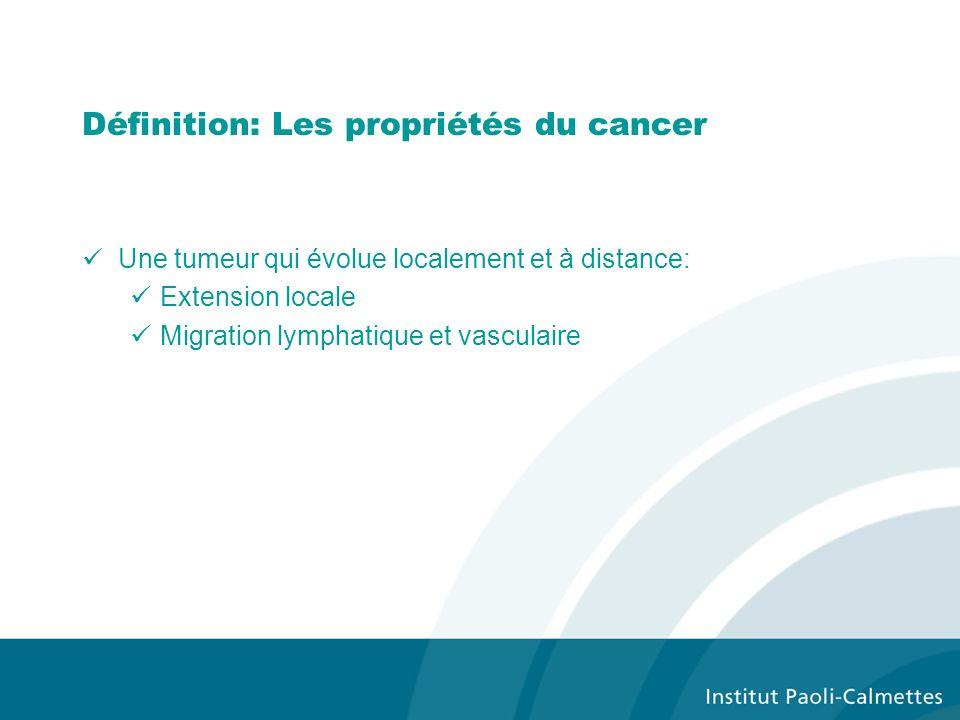 Définition: Les propriétés du cancer Une tumeur qui évolue localement et à distance: Extension locale Migration lymphatique et vasculaire
