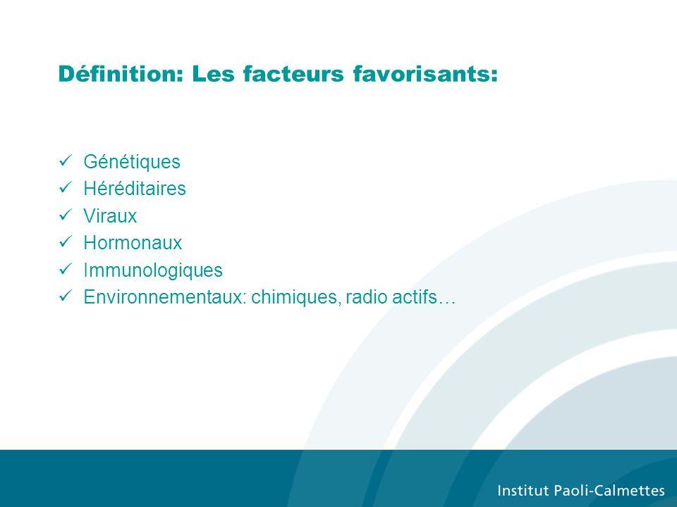 Définition: Les facteurs favorisants: Génétiques Héréditaires Viraux Hormonaux Immunologiques Environnementaux: chimiques, radio actifs…
