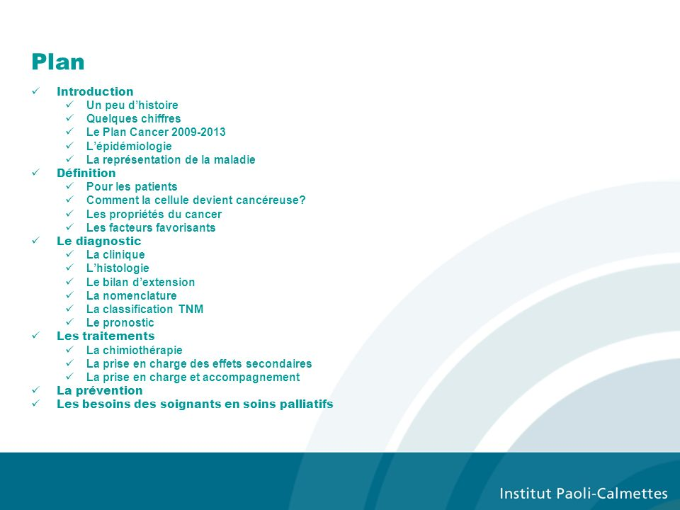 Plan Introduction Un peu dhistoire Quelques chiffres Le Plan Cancer 2009-2013 Lépidémiologie La représentation de la maladie Définition Pour les patie