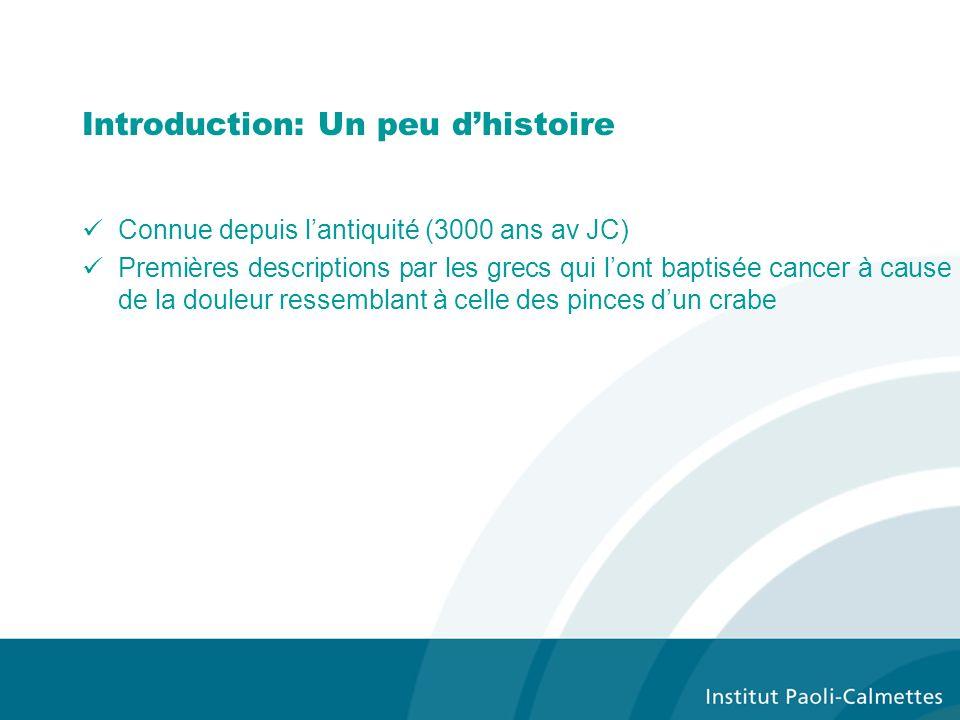 Introduction: Un peu dhistoire Connue depuis lantiquité (3000 ans av JC) Premières descriptions par les grecs qui lont baptisée cancer à cause de la d