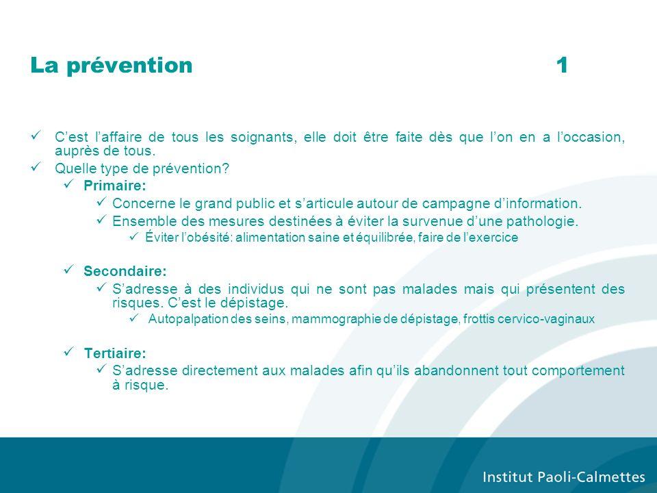 La prévention1 Cest laffaire de tous les soignants, elle doit être faite dès que lon en a loccasion, auprès de tous. Quelle type de prévention? Primai