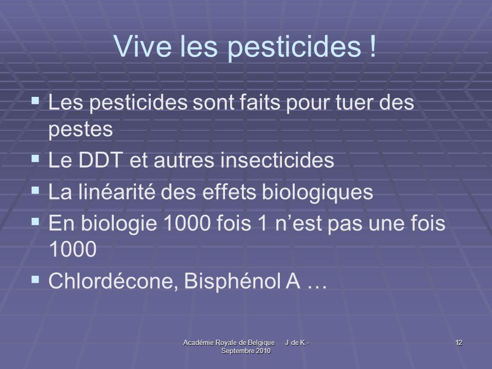 Académie Royale de Belgique J de K - Septembre 2010 12 Vive les pesticides .