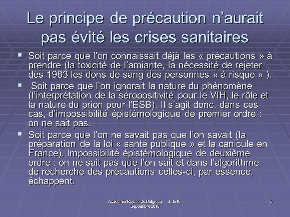 Académie Royale de Belgique J de K - Septembre 2010 3 3 Le principe de précaution naurait pas évité les crises sanitaires Soit parce que lon connaissait déjà les « précautions » à prendre (la toxicité de lamiante, la nécessité de rejeter dès 1983 les dons de sang des personnes « à risque » ).