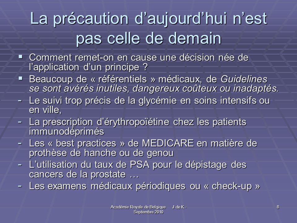Académie Royale de Belgique J de K - Septembre 2010 9 9 Une « application raisonnable ».