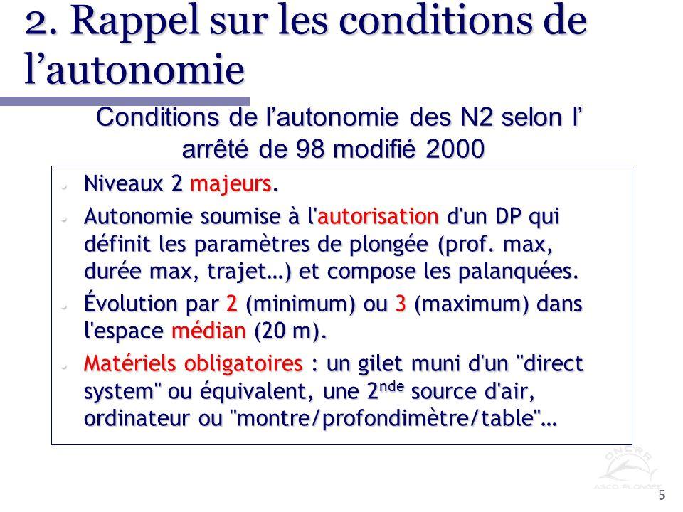6 2.Rappel sur les conditions de lautonomie (suite) Niveaux 3 forcément majeurs.