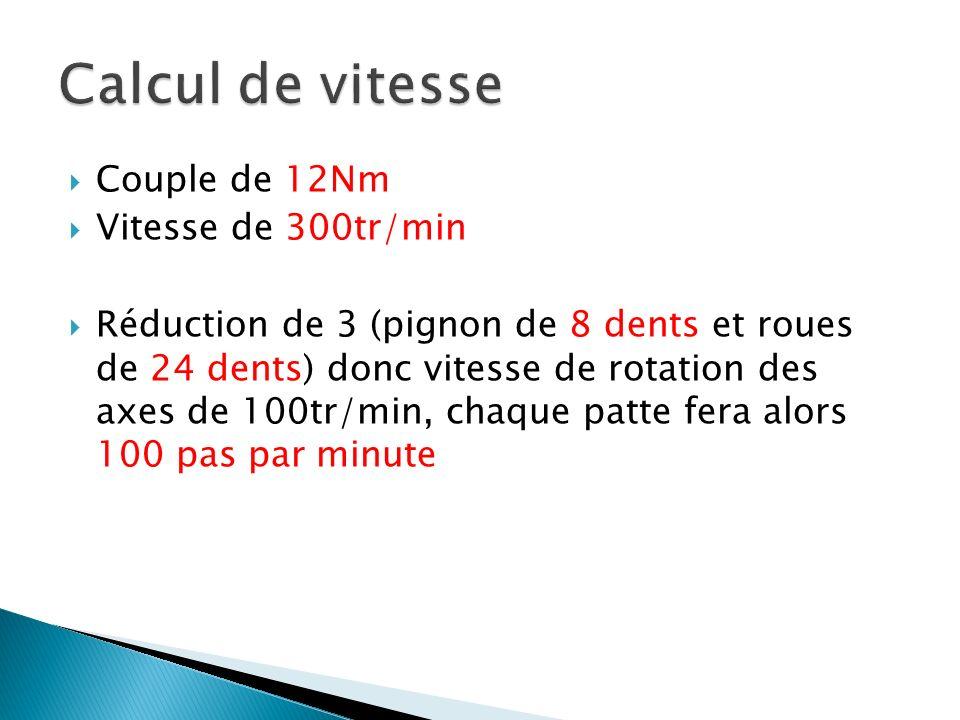 Couple de 12Nm Vitesse de 300tr/min Réduction de 3 (pignon de 8 dents et roues de 24 dents) donc vitesse de rotation des axes de 100tr/min, chaque pat