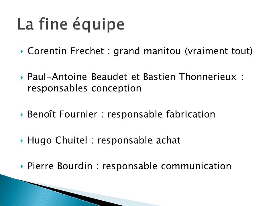 Corentin Frechet : grand manitou (vraiment tout) Paul-Antoine Beaudet et Bastien Thonnerieux : responsables conception Benoît Fournier : responsable f