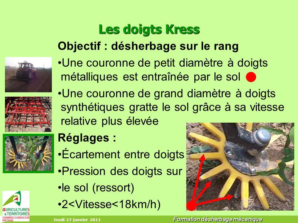 Jeudi 27 janvier 2011 Formation désherbage mécanique Les doigts Kress Objectif : désherbage sur le rang Une couronne de petit diamètre à doigts métall