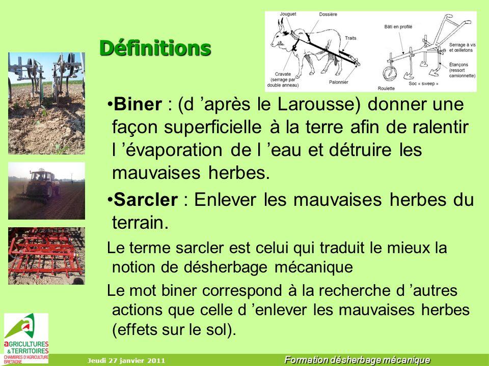 Jeudi 27 janvier 2011 Formation désherbage mécanique Définitions Biner : (d après le Larousse) donner une façon superficielle à la terre afin de ralen