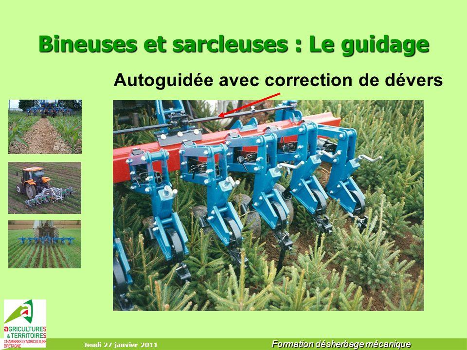 Jeudi 27 janvier 2011 Formation désherbage mécanique Bineuses et sarcleuses : Le guidage Autoguidée avec correction de dévers