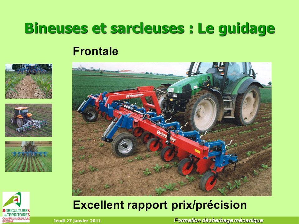 Jeudi 27 janvier 2011 Formation désherbage mécanique Bineuses et sarcleuses : Le guidage Frontale Excellent rapport prix/précision