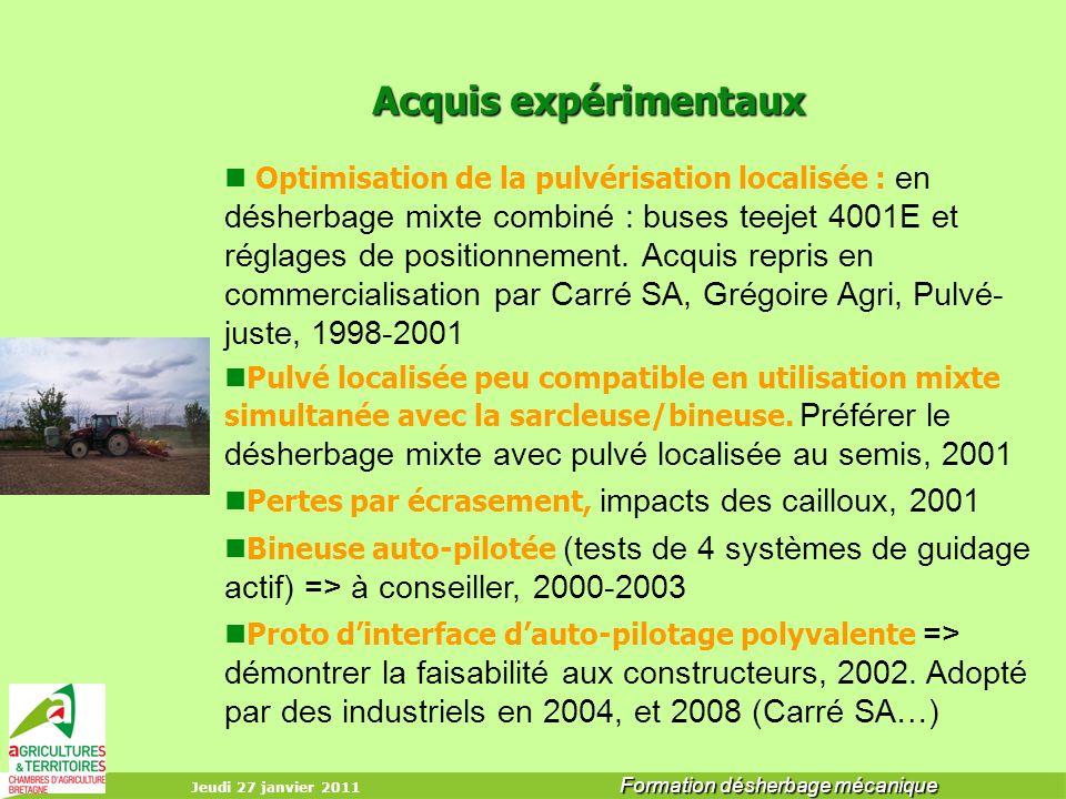 Jeudi 27 janvier 2011 Formation désherbage mécanique Acquis expérimentaux Acquis expérimentaux Optimisation de la pulvérisation localisée : en désherb