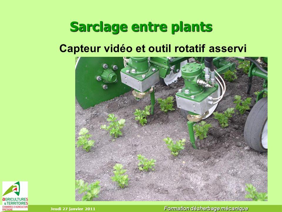 Jeudi 27 janvier 2011 Formation désherbage mécanique Sarclage entre plants Capteur vidéo et outil rotatif asservi équipements de guidage ??